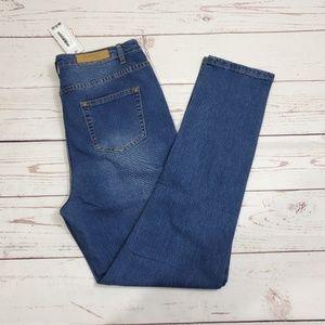 Boohoo Blue Jeans Tall High Rise Slim Fit Mom Jean